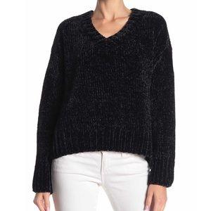 Sanctuary Black Chenille V-neck Sweater